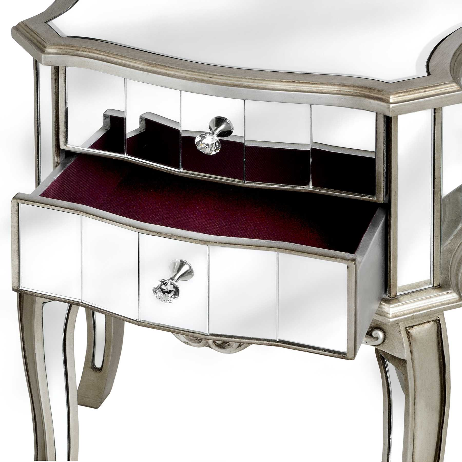 Argente Mirrored Two Drawer Bedside Table - Donna Kristian Interiors